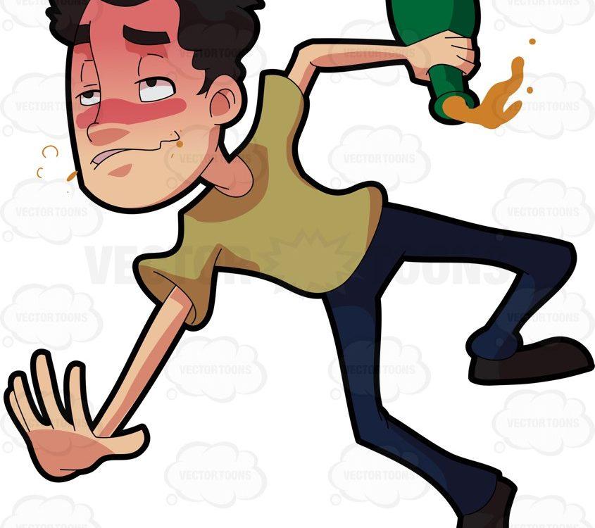 A drunken man tumbling down on the floor